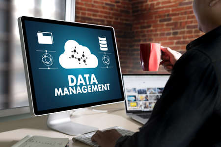 large group of business people: DATA MANAGEMENT File Database Cloud Network technology concept
