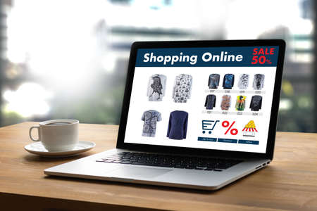 Online Shopping Add to Cart Online Order Store buy Sale Digital Online ecommerce Marketing Archivio Fotografico