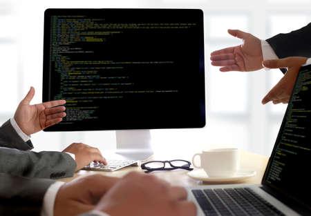 css: Developer Team Working Laptop Computer Mobile Application Softwareand Web Design Online Technology Content script to display
