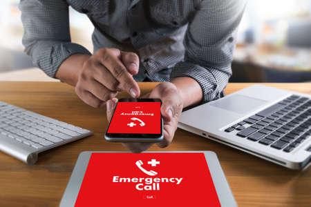 緊急コール センター サービス緊急事故ホットライン医療サービス 写真素材