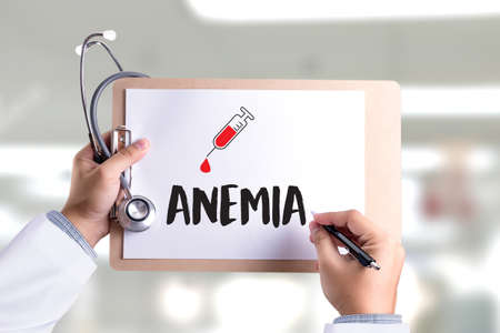 ANEMIA blood for test , Medical Concept , Diagnosis Iron deficiency doctor hand working Professional , aplastic anemia Editorial