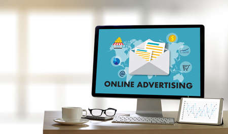 cpc: ONLINE ADVERTISING Website Marketing , Update Trends Advertising , Online Business Content Strategy Stock Photo