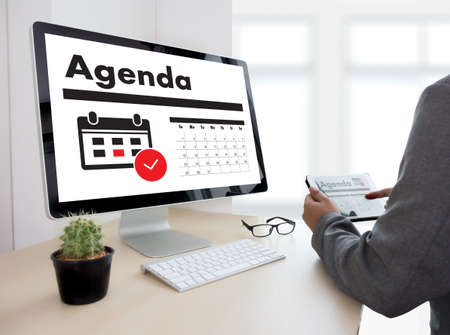 Agenda Activity on conputer Business man Making Agenda Information Calendar Events and Meeting Organizer