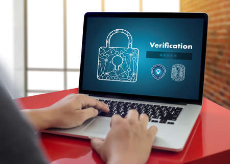 Verification Action professionals working Process Performance Password and Register Фото со стока