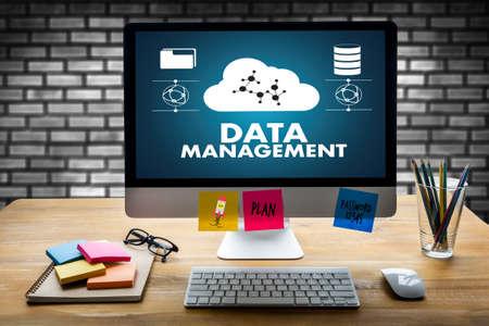 DATA MANAGEMENT File database cloud network technology concept Stock Photo