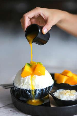 bingsu mango ice cream - delicious Korean dessert Frozen Dessert
