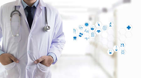 Medicine health care professional doctor  hand working with modern computer interface technology