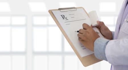 medicine doctor patient healthcare concept contraception Rx prescription form in drug store Pharmacist pharmacy