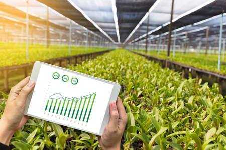 landbouw technologie concept man Agronoom met behulp van een tablet in een veld landbouw lezen een rapport