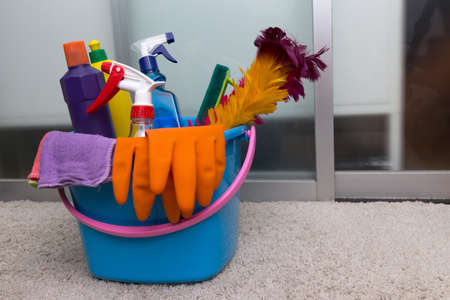 Home cleaning concept Basket with house cleaning product