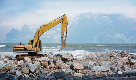 man work construction site excavator  earthmoving