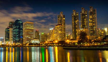 city night bangkok Park in the City at dusk (Thailand)