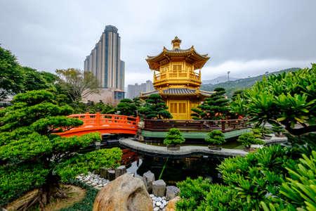 Pagoda Style Chinese Architecture Perfection In Nan Lian Garden, Hong Kong,  China. Stock