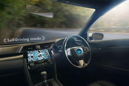 autonomous driving car and digital speedometer technology image visual Stock Photo