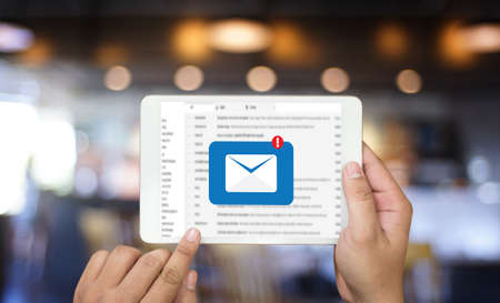 Mail Communication Connection message to mailing contacts phone Global Letters Concept Stockfoto