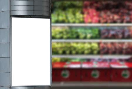 Black screen panel against grocery store background 版權商用圖片