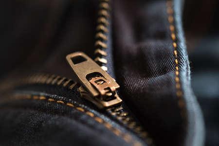 Closeup of zipper on jeans