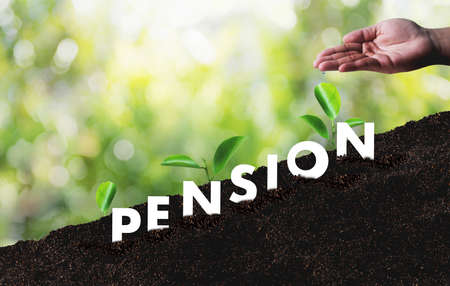 Pension money savings financial concept and retirement and people Investment growing