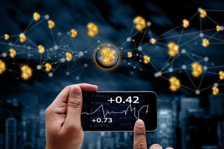 bitcoin  electronic computer concept design Blockchain   cryptocurrencies Financial growth