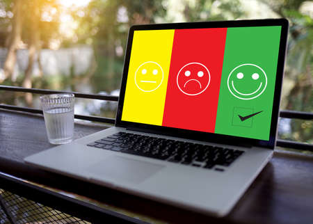 business man and woman select happy on satisfaction evaluation? And good mood smiley and evaluate Stock Photo