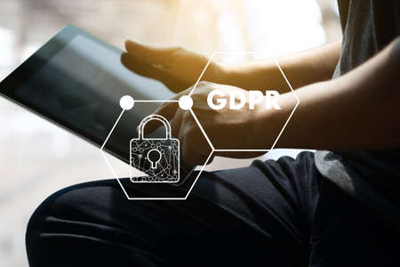 GDPR. Data Protection Regulation IT technologist Data Security system Shield Protection Stock Photo