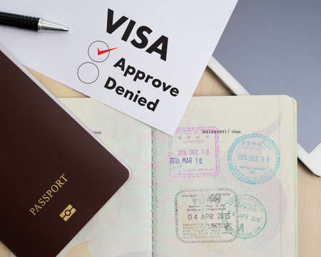 Visa application form to travel Immigration a document Money for Passport Map and travel plan 스톡 콘텐츠