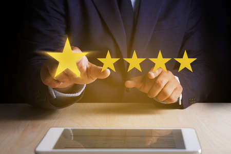 Man Happy Customer give  Five Star Rating Experience Customer service and care Concept 版權商用圖片