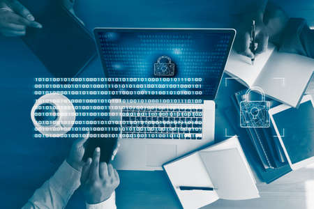 CYBER SECURITY Business technology secure Firewall Antivirus Alert Protection Security and Cyber Security Firewall Foto de archivo