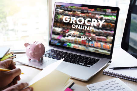 online shopping concept supermarket online  phone grocery shopping health food Stock Photo