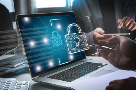 CYBER SECURITY Business technology secure Firewall Antivirus Alert Protection Security and Cyber Security Firewall Фото со стока