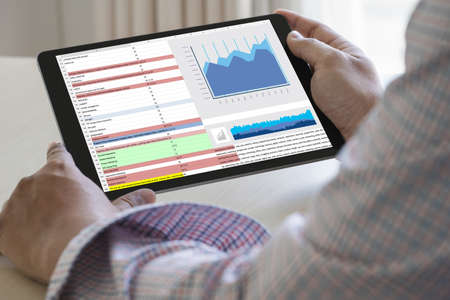 werk hard Data Analytics Statistieken Informatie Bedrijfstechnologie Stockfoto
