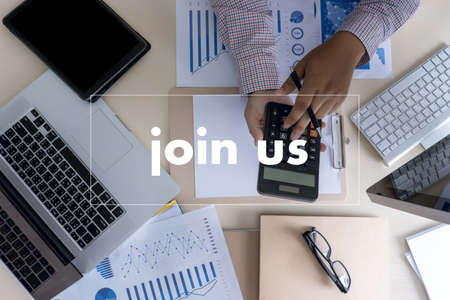 join us concept Businessman working at office JOIN OUR TEAM Stock Photo