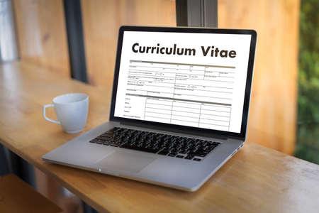 CV - Curriculum Vitae (Job interview concept with business CV resume) , BUSINESS OFFICE BUSINESSMAN WORKING application job Standard-Bild - 107303350