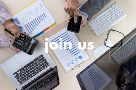 join us concept Businessman working at office JOIN OUR TEAM Фото со стока