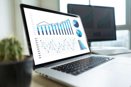 business man work chart schedule or planning financial report data Foto de archivo