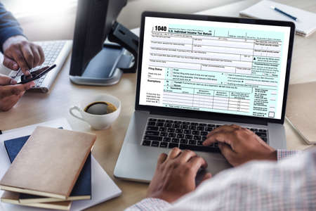 Time for Taxes Planning Money Financial Accounting Taxation Businessman Tax Economy Refund Money Stockfoto