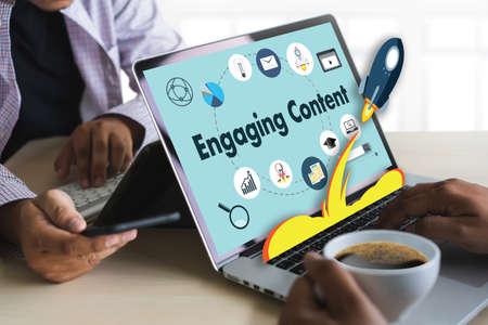 Engaging  CONTENT marketing Data Blogging Media Publication Information Vision Content Concept Stok Fotoğraf