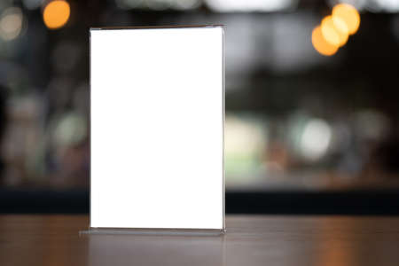 Stand Mock up Menu frame tent card blurred background design key visual layout Stock Photo - 116686711