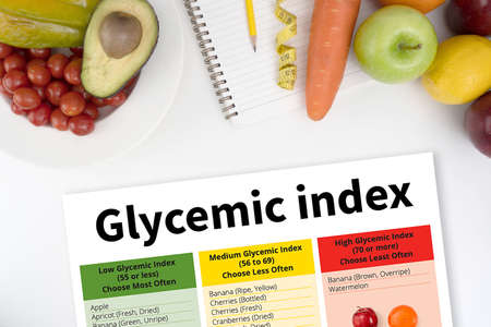 Glycemic index Fitness and weight loss concept, dumbbells, white scale, fruit and tape measure on a wooden table, top view