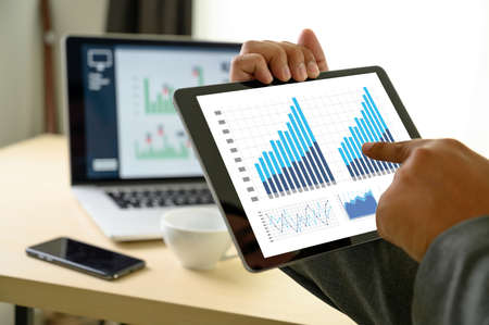 business man work chart schedule or planning financial report data methodology