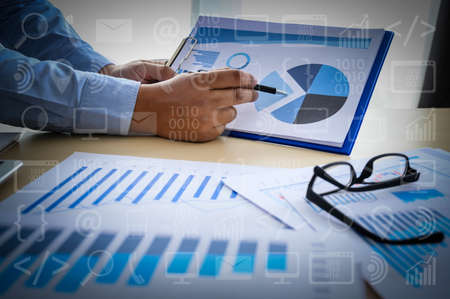 Working team meeting concep graph financial with social network diagram discussing data analysis data the charts and graphs