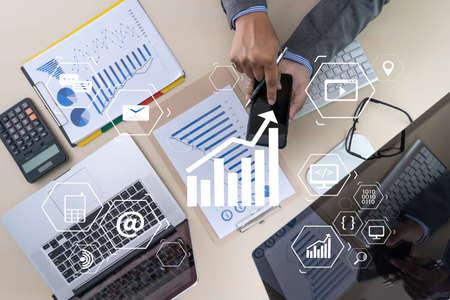 Marketing concept Business man startup project DIGITAL MARKETING Banque d'images