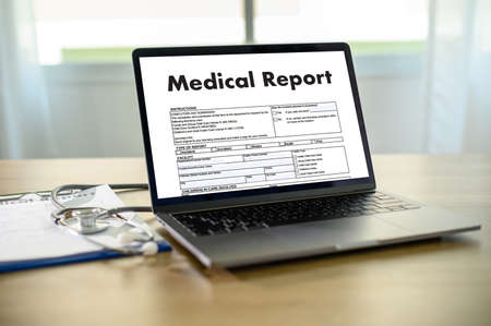 Doctor using computer medical record  medical report or medical certificate database of patient's health care