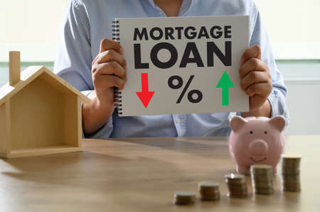 Mortgage rates LOAN MONEY CONCEPT 免版税图像