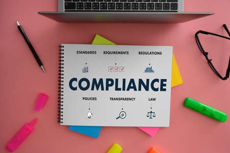 COMPLIANCE REGULATORY COMPLIANCE Business metaphor and technolog Archivio Fotografico