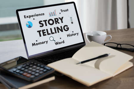 Storytelling Concept business brand story marketing creation content Stock Photo