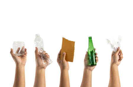 recycle different types of garbage Ecology concept holding garbage bottle plastic and glass to types of garbage Imagens