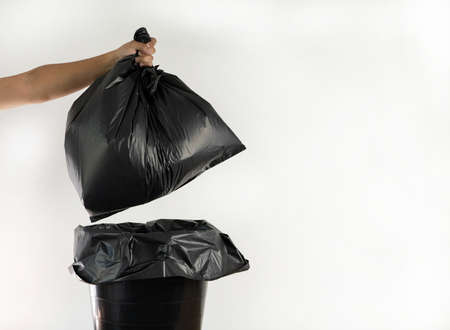 recycling man garbage bag for recycle cleaning Ecology concept