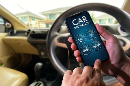 car insurance man driver call on smartphone to Policies Safety Coverage  insurance agent