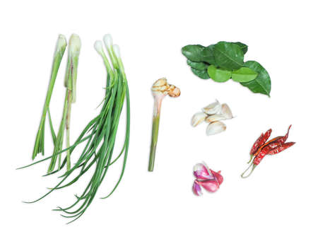 spices and herbs on white background Banco de Imagens